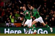 26 March 2019; Conor Hourihane of Republic of Ireland celebrates after scoring his side's first goal with team-mate Glenn Whelan during the UEFA EURO2020 Group D qualifying match between Republic of Ireland and Georgia at the Aviva Stadium, Lansdowne Road, in Dublin. Photo by Harry Murphy/Sportsfile