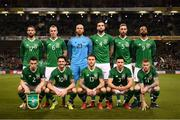 26 March 2019; The Republic of Ireland team, back row, from left, Conor Hourihane, Glenn Whelan, Darren Randolph, Shane Duffy, Richard Keogh and David McGoldrick, with, front row, Seamus Coleman, Robbie Brady, Jeff Hendrick, Enda Stevens and James McClean prior to the UEFA EURO2020 Group D qualifying match between Republic of Ireland and Georgia at the Aviva Stadium, Lansdowne Road in Dublin. Photo by Stephen McCarthy/Sportsfile