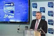 25 March 2019; Speaking at the 2019 Allianz Football League Finals preview is Sean McGrath, CEO, Allianz Ireland. 2019 marks the 27th year of Allianz' support of courage on the field of play through its sponsorship of the Allianz Football and Hurling Leagues. Mayo meet Kerry in this Sunday's Division 1 decider at Croke Park (4pm), while Meath and Donegal will contest the Division 2 Final in Croke Park on Saturday (5pm), preceded by the Division 4 final meeting of Leitrim and Derry (3pm). Photo by Brendan Moran/Sportsfile