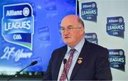 25 March 2019; Speaking at the 2019 Allianz Football League Finals preview is Uachtarán Chumann Lúthchleas Gael John Horan. 2019 marks the 27th year of Allianz' support of courage on the field of play through its sponsorship of the Allianz Football and Hurling Leagues. Mayo meet Kerry in this Sunday's Division 1 decider at Croke Park (4pm), while Meath and Donegal will contest the Division 2 Final in Croke Park on Saturday (5pm), preceded by the Division 4 final meeting of Leitrim and Derry (3pm). Photo by Brendan Moran/Sportsfile