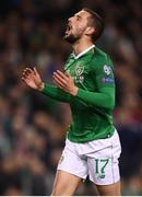 26 March 2019; Conor Hourihane of Republic of Ireland reacts after his opportunity on goal was saved during the UEFA EURO2020 Group D qualifying match between Republic of Ireland and Georgia at the Aviva Stadium, Lansdowne Road in Dublin. Photo by Stephen McCarthy/Sportsfile