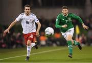 26 March 2019; Matt Doherty of Republic of Ireland and Levan Kharabadze of Georgia during the UEFA EURO2020 Group D qualifying match between Republic of Ireland and Georgia at the Aviva Stadium, Lansdowne Road in Dublin. Photo by Stephen McCarthy/Sportsfile