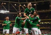 26 March 2019; Conor Hourihane is congratulated by his Republic of Ireland team-mates, from left, Enda Stevens, Robbie Brady, Shane Duffy, top, and Richard Keogh after scoring his side's goal during the UEFA EURO2020 Group D qualifying match between Republic of Ireland and Georgia at the Aviva Stadium, Lansdowne Road in Dublin. Photo by Stephen McCarthy/Sportsfile
