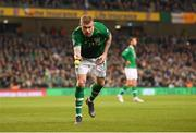 26 March 2019; James McClean of Republic of Ireland throws a tennis ball from the pitch during the UEFA EURO2020 Group D qualifying match between Republic of Ireland and Georgia at the Aviva Stadium, Lansdowne Road in Dublin. Photo by Stephen McCarthy/Sportsfile