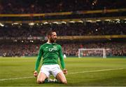 26 March 2019; Conor Hourihane of Republic of Ireland celebrates after scoring his side's goal during the UEFA EURO2020 Group D qualifying match between Republic of Ireland and Georgia at the Aviva Stadium, Lansdowne Road in Dublin. Photo by Stephen McCarthy/Sportsfile