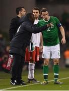 26 March 2019; Republic of Ireland assistant coach Terry Connor speaks with Seamus Coleman during the UEFA EURO2020 Group D qualifying match between Republic of Ireland and Georgia at the Aviva Stadium, Lansdowne Road in Dublin. Photo by Stephen McCarthy/Sportsfile