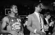 18 January 1987; Kelvin Troy of Premier Dairies Killester, with coach Jerome Westbrooks, National Cup Final, Burgerland Neptune v Premier Dairies Killester, Neptune Stadium, Cork. Photo by Ray McManus/Sportsfile