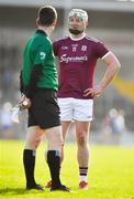 24 March 2019; Joe Canning of Galway has a word with linesman Seán Stack as he prepares to take a free during the Allianz Hurling League Division 1 Semi-Final match between Galway and Waterford at Nowlan Park in Kilkenny. Photo by Brendan Moran/Sportsfile