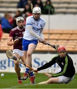 24 March 2019; Fergal Flannery of Galway saves a goalbound shot by Shane Bennett of Waterford during the Allianz Hurling League Division 1 Semi-Final match between Galway and Waterford at Nowlan Park in Kilkenny. Photo by Brendan Moran/Sportsfile