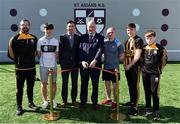 28 March 2019; St Aidan's SNS, in conjunction with the Lauritzen foundation, opened their state of the art hurling wall on the school grounds today. St Aidan's SNS strive to improve physical fitness and participation in Gaelic games amongst its pupils as well as building upon existing relationships within the community and the local GAA club in Tallaght, St Marks. In attendance at the launch is, from left, Martin Kavanagh, former pupil and current St Mark's player, Dublin minor hurler Jack Kielthy, Tomás Hayes, St Aidan's SNS Principal, Uachtaráin Cumann Lúthchleas Gael John Horan,former Dublin hurler and St Mark's GAA GPO Dotsy O'Callaghan, Dublin Minor and St Mark's Hurler's, Conor Burke and Daniel Kielthy at the St Aidan's SNS hurling wall opening ceremony at St Aidans Senior National School in Tallaght, Dublin. Photo by Sam Barnes/Sportsfile