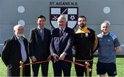 28 March 2019; St Aidan's SNS, in conjunction with the Lauritzen foundation, opened their state of the art hurling wall on the school grounds today. St Aidan's SNS strive to improve physical fitness and participation in Gaelic games amongst its pupils as well as building upon existing relationships within the community and the local GAA club in Tallaght, St Marks. In attendance at the launch is, from left, Tommy Flynn, Chairperson, St Aidan's SNS Board of Management, Tomás Hayes, St Aidan's SNS Principal, Uachtaráin Cumann Lúthchleas Gael John Horan, Martin Kavanagh, former pupil and current St Mark's player, and former Dublin hurler and St Mark's GAA GPO Dotsy O'Callaghan  at the St Aidan's SNS hurling wall opening ceremony at St Aidans Senior National School in Tallaght, Dublin. Photo by Sam Barnes/Sportsfile
