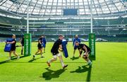 29 March 2019; Dan Leavy, left, and Rhys Ruddock during the Leinster Rugby captain's run at the Aviva Stadium in Dublin. Photo by Ramsey Cardy/Sportsfile