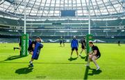 29 March 2019; Ross Byrne, left, and James Tracy during the Leinster Rugby captain's run at the Aviva Stadium in Dublin. Photo by Ramsey Cardy/Sportsfile