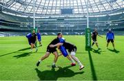 29 March 2019; Ed Byrne, left, and Dan Leavy during the Leinster Rugby captain's run at the Aviva Stadium in Dublin. Photo by Ramsey Cardy/Sportsfile