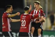 29 March 2019; Ciaron Harkin of Derry City celebrates with team-mates Josh Kerr, Darren Cole and Greg Sloggett after scoring his side's second goal during the SSE Airtricity League Premier Division match between Derry City and Sligo Rovers at Ryan McBride Brandywell Stadium in Derry.. Photo by Oliver McVeigh/Sportsfile