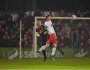 29 March 2019; Gary Shaw of St Patrick's Athletic in action against Derek Pender of Bohemians during the SSE Airtricity League Premier Division match between Bohemians and St Patrick's Athletic at Dalymount Park in Dublin. Photo by Seb Daly/Sportsfile