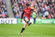 30 March 2019; Joey Carbery of Munster successfully converts Keith Earls' try during the Heineken Champions Cup Quarter-Final match between Edinburgh and Munster at BT Murrayfield Stadium in Edinburgh, Scotland. Photo by Paul Devlin/Sportsfile