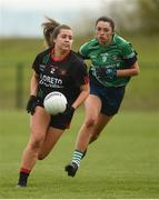 30 March 2019; Sadhbh Hallinan of Loreto, Clonmel in action against Sarah Larkin of Scoil Chríost Rí, Portlaoise during the Lidl All-Ireland Post-Primary Schools Senior A Final match between Loreto, Clonmel, and Scoil Chríost Rí, Portlaoise, at John Locke Park in Callan, Co Kilkenny. Photo by Diarmuid Greene/Sportsfile