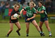 30 March 2019; Brid McMaugh of Loreto, Clonmel in action against Alice Dunne, centre, and Erone Fitzpatrick of Scoil Chríost Rí, Portlaoise during the Lidl All-Ireland Post-Primary Schools Senior A Final match between Loreto, Clonmel, and Scoil Chríost Rí, Portlaoise, at John Locke Park in Callan, Co Kilkenny. Photo by Diarmuid Greene/Sportsfile