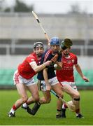 30 March 2019; Chirs Korff of Castlecomer Community School in action against Adrian Prendergast, left, and Seán Connaughton of St Raphael's College Loughrea during the Masita GAA All-Ireland Hurling Post Primary Schools Paddy Buggy Cup Final match between St. Raphael's College Loughrea and Castlecomer CS in Bord na Móna O'Connor Park in Tullamore, Offaly. Photo by Harry Murphy/Sportsfile