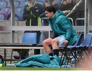 30 March 2019; Joey Carbery of Munster sits on the bench with an ice pack on his leg after being substituted during the Heineken Champions Cup Quarter-Final match between Edinburgh and Munster at BT Murrayfield Stadium in Edinburgh, Scotland. Photo by Brendan Moran/Sportsfile