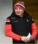30 March 2019; Louth manager Wayne Kierans, serving a touchline suspension, watches on from the stand prior to the Allianz Football League Roinn 3 Round 6 match between Louth and Westmeath at the Gaelic Grounds in Drogheda, Louth.   Photo by Oliver McVeigh/Sportsfile