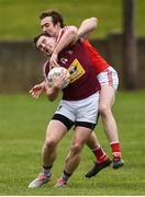 30 March 2019; Kieran Martin of Westmeath in action against Bevan Duffy of Louth during the Allianz Football League Roinn 3 Round 6 match between Louth and Westmeath at the Gaelic Grounds in Drogheda, Louth.   Photo by Oliver McVeigh/Sportsfile