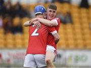 30 March 2019; Keith Dervan, right, and Shane Morgan of St Raphael's College Loughrea celebrate following the Masita GAA All-Ireland Hurling Post Primary Schools Paddy Buggy Cup Final match between St. Raphael's College Loughrea and Castlecomer CS in Bord na Móna O'Connor Park in Tullamore, Offaly. Photo by Harry Murphy/Sportsfile