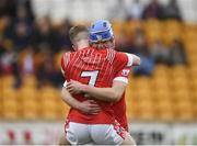 30 March 2019; Shane Morgan, right, and Keith Dervan of St Raphael's College Loughrea celebrate following the Masita GAA All-Ireland Hurling Post Primary Schools Paddy Buggy Cup Final match between St. Raphael's College Loughrea and Castlecomer CS in Bord na Móna O'Connor Park in Tullamore, Offaly. Photo by Harry Murphy/Sportsfile