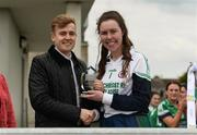 30 March 2019; Aoife Conlon-Hyland of Scoil Chríost Rí, Portlaoise, is presented with the Lidl Player of the Match award by Jay Wilson of Lidl after the Lidl All-Ireland Post-Primary Schools Senior A Final match between Loreto, Clonmel, and Scoil Chríost Rí, Portlaoise, at John Locke Park in Callan, Co Kilkenny. Photo by Diarmuid Greene/Sportsfile