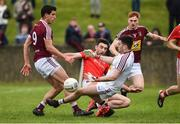 30 March 2019; James Califf of Louth has his shot saved by Eoin Carberry of Westmeath during the Allianz Football League Roinn 3 Round 6 match between Louth and Westmeath at the Gaelic Grounds in Drogheda, Louth.   Photo by Oliver McVeigh/Sportsfile