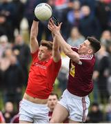 30 March 2019; Ryan Burns of Louth in action against James Dolan of Westmeath during the Allianz Football League Roinn 3 Round 6 match between Louth and Westmeath at the Gaelic Grounds in Drogheda, Louth. Photo by Oliver McVeigh/Sportsfile