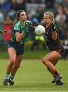 30 March 2019; Sarah Larkin of Scoil Chríost Rí, Portlaoise in action against Veerle Van Der Wal of Loreto, Clonmel during the Lidl All-Ireland Post-Primary Schools Senior A Final match between Loreto, Clonmel, and Scoil Chríost Rí, Portlaoise, at John Locke Park in Callan, Co Kilkenny. Photo by Diarmuid Greene/Sportsfile