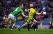 30 March 2019; Ryan McHugh of Donegal in action against Conor McGill of Meath during the Allianz Football League Division 2 Final match between Meath and Donegal at Croke Park in Dublin. Photo by Ray McManus/Sportsfile