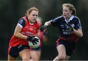 30 March 2019; Sarah Dillon of Mercy SS Ballymahon in action against Aoife Healy of St Mary's High School during the Lidl All-Ireland Post-Primary Schools Senior C Final match between Mercy SS, Ballymahon, Co Longford, and St Mary's High School, Midleton, Co Cork, at St Rynagh's GAA in Banagher, Co Offaly. Photo by Piaras Ó Mídheach/Sportsfile