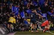 30 March 2019; Adam Byrne is congratulated by his Leinster team-mate Luke McGrath, 9, after scoring their second try during the Heineken Champions Cup Quarter-Final between Leinster and Ulster at the Aviva Stadium in Dublin. Photo by Stephen McCarthy/Sportsfile