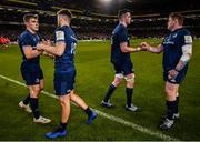 30 March 2019; Leinster players, from left, Garry Ringrose, Ross Byrne, James Ryan and Tadhg Furlong following the Heineken Champions Cup Quarter-Final between Leinster and Ulster at the Aviva Stadium in Dublin. Photo by Ramsey Cardy/Sportsfile