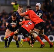30 March 2019; Cian Healy of Leinster is tackled by John Cooney of Ulster during the Heineken Champions Cup Quarter-Final between Leinster and Ulster at the Aviva Stadium in Dublin. Photo by David Fitzgerald/Sportsfile