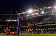 30 March 2019; Adam Byrne of Leinster on his way to scoring his side's second try during the Heineken Champions Cup Quarter-Final between Leinster and Ulster at the Aviva Stadium in Dublin. Photo by Ramsey Cardy/Sportsfile