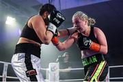30 March 2019; Katelynn Phelan, right, and Monika Antonik during their super lightweight bout at the National Stadium in Dublin. Photo by Seb Daly/Sportsfile