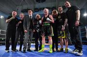 30 March 2019; Katelynn Phelan, centre, with her family, including her brother Allen, after winning her super lightweight bout against Monika Antonik at the National Stadium in Dublin. Photo by Seb Daly/Sportsfile