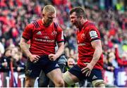 30 March 2019; Keith Earls of Munster celebrates with team-mate Peter O'Mahony after scoring his and his side's second try during the Heineken Champions Cup Quarter-Final match between Edinburgh and Munster at BT Murrayfield Stadium in Edinburgh, Scotland. Photo by Brendan Moran/Sportsfile