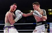 30 March 2019; Eric Donovan, right, and Stephen McAfee during their vacant Irish Featherweight title bout at the National Stadium in Dublin. Photo by Seb Daly/Sportsfile