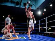 30 March 2019; Eric Donovan celebrates after winning the vacant Irish Featherweight title bout against Stephen McAfee at the National Stadium in Dublin. Photo by Seb Daly/Sportsfile