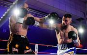 30 March 2019; Cillian Reardon, right, and Istvan Szucs during their middleweight bout at the National Stadium in Dublin. Photo by Seb Daly/Sportsfile