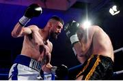 30 March 2019; Cillian Reardon, left, and Istvan Szucs during their middleweight bout at the National Stadium in Dublin. Photo by Seb Daly/Sportsfile