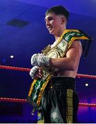 30 March 2019; Victor Rabei with the BUI Celtic Super Lightweight title after defeating Jake Hanney at the National Stadium in Dublin. Photo by Seb Daly/Sportsfile