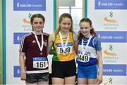 30 March 2019;  Girls Under 13 60m medallists, from left, Anna Taylor of Crookstown Millview A.C., Co. Kildare, bronze, Ella Curtin of Brothers Pearse A.C., Co. Dublin, gold, and Riona Doherty of Finn Valley A.C., Co. Donegal, silver, during Day 1 of the Irish Life Health National Juvenile Indoor Championships at AIT in Athlone, Co Westmeath. Photo by Sam Barnes/Sportsfile