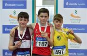 30 March 2019; Boys Under 13 60m medallists, from left, Kyle Faherty of Mullingar Harriers A.C., Co. Westmeath, bronze, Marc O Brien of Dooneen A.C., Co. Limerick, gold, and Darragh Fahy of Loughrea A.C., Co. Galway, silver, during Day 1 of the Irish Life Health National Juvenile Indoor Championships at AIT in Athlone, Co Westmeath. Photo by Sam Barnes/Sportsfile