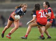 30 March 2019; Sarah Leahy of St Mary's High School in action against Emma Ballesty and Rebecca O'Kane, right, of Mercy SS Ballymahon during the Lidl All-Ireland Post-Primary Schools Senior C Final match between Mercy SS, Ballymahon, Co Longford, and St Mary's High School, Midleton, Co Cork, at St Rynagh's GAA in Banagher, Co Offaly. Photo by Piaras Ó Mídheach/Sportsfile